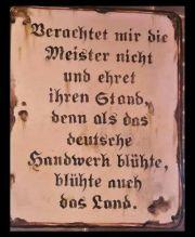 Altes Blechschild mit Aufschrift zur Ehrung des deutschen Handwerks