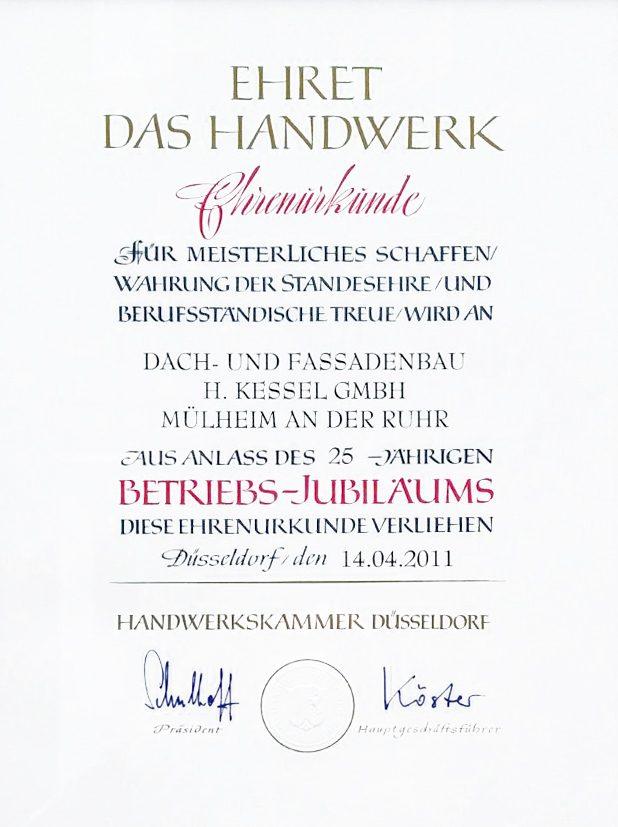 Ehrenurkunde der Handwerkskammer Düsseldorf zum 25-jährigen Betriebsjubiläum der Firma Dach- und Fassadenbau Kessel GmbH